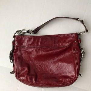 Coach Purses Zoe Red Patent Leather Shoulder Hobo